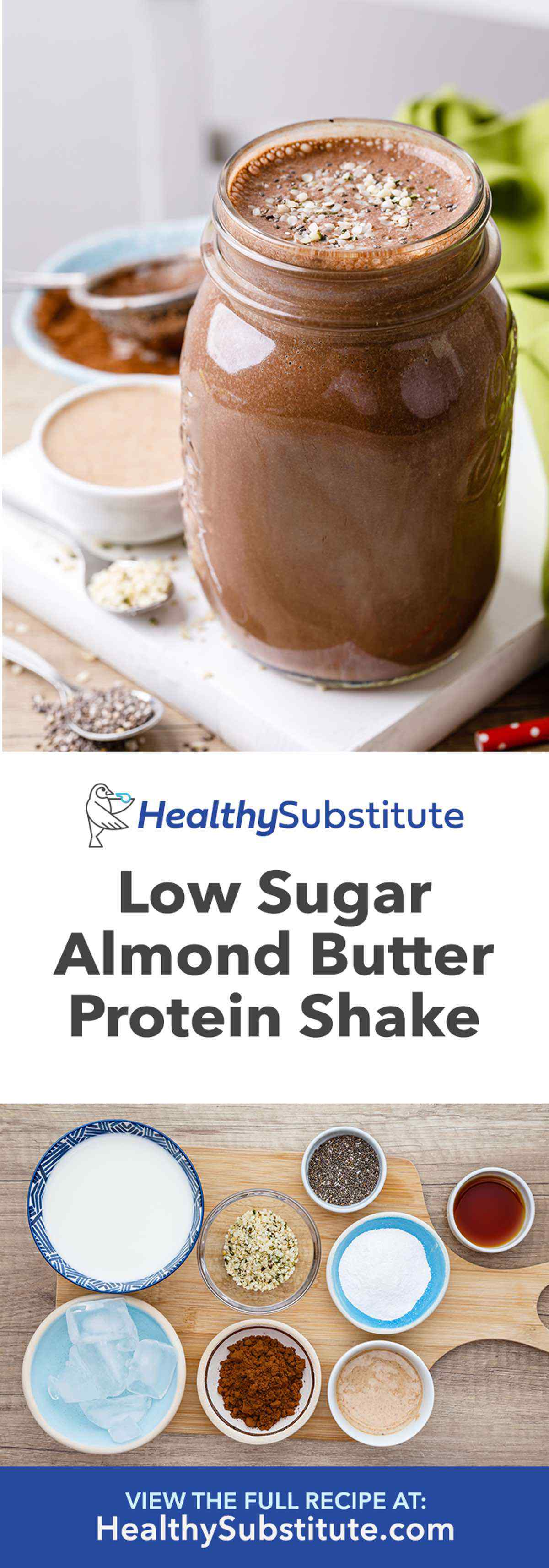 Low Sugar Almond Butter Paleo Protein Shake