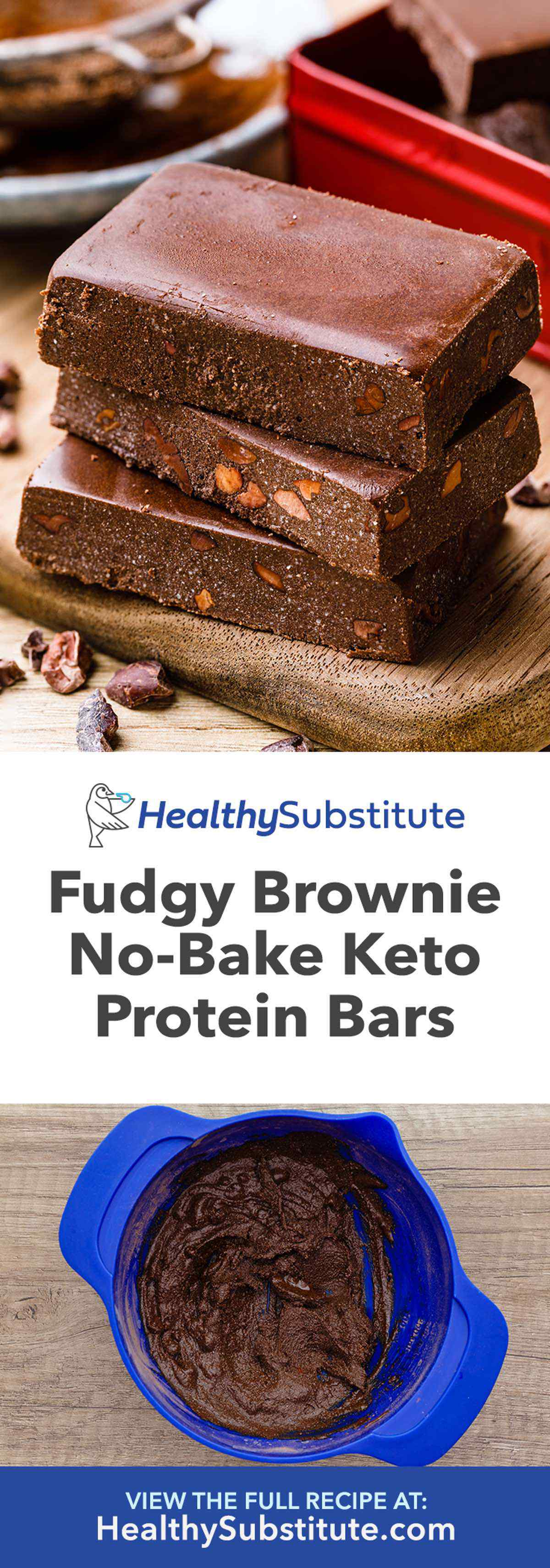 Homemade Fudgy Brownie Keto Protein Bars No Bake High Protein Snack Healthy Substitute