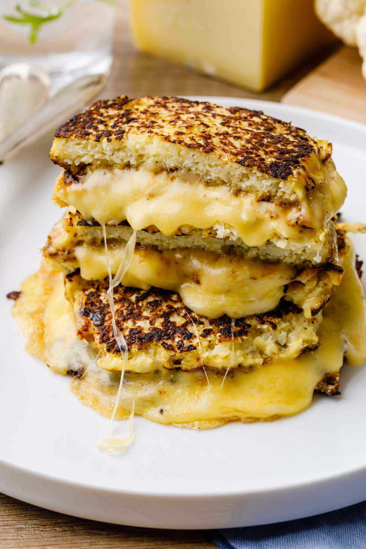Low Carb Cauliflower Toast Grilled Cheese