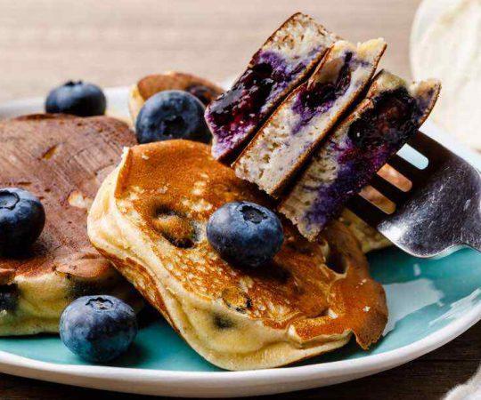Almond Flour Blueberry Protein Pancakes