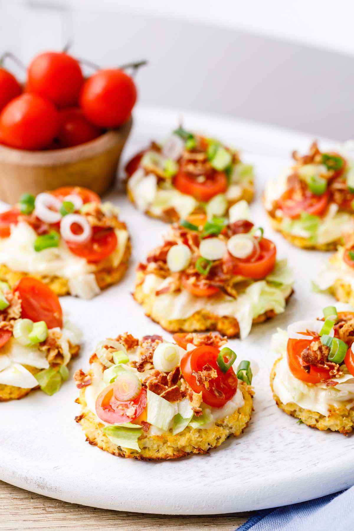 BLT Cauliflower Pizza Bites