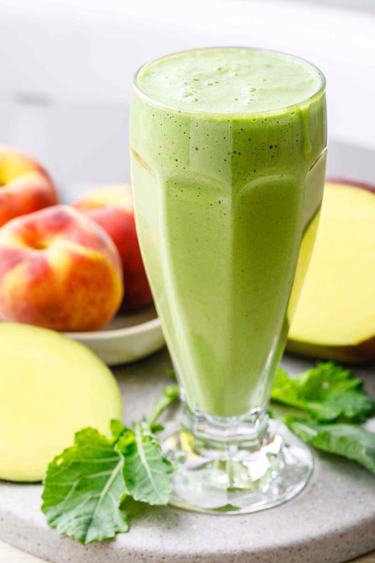 Peach Mango Kale Green Smoothie