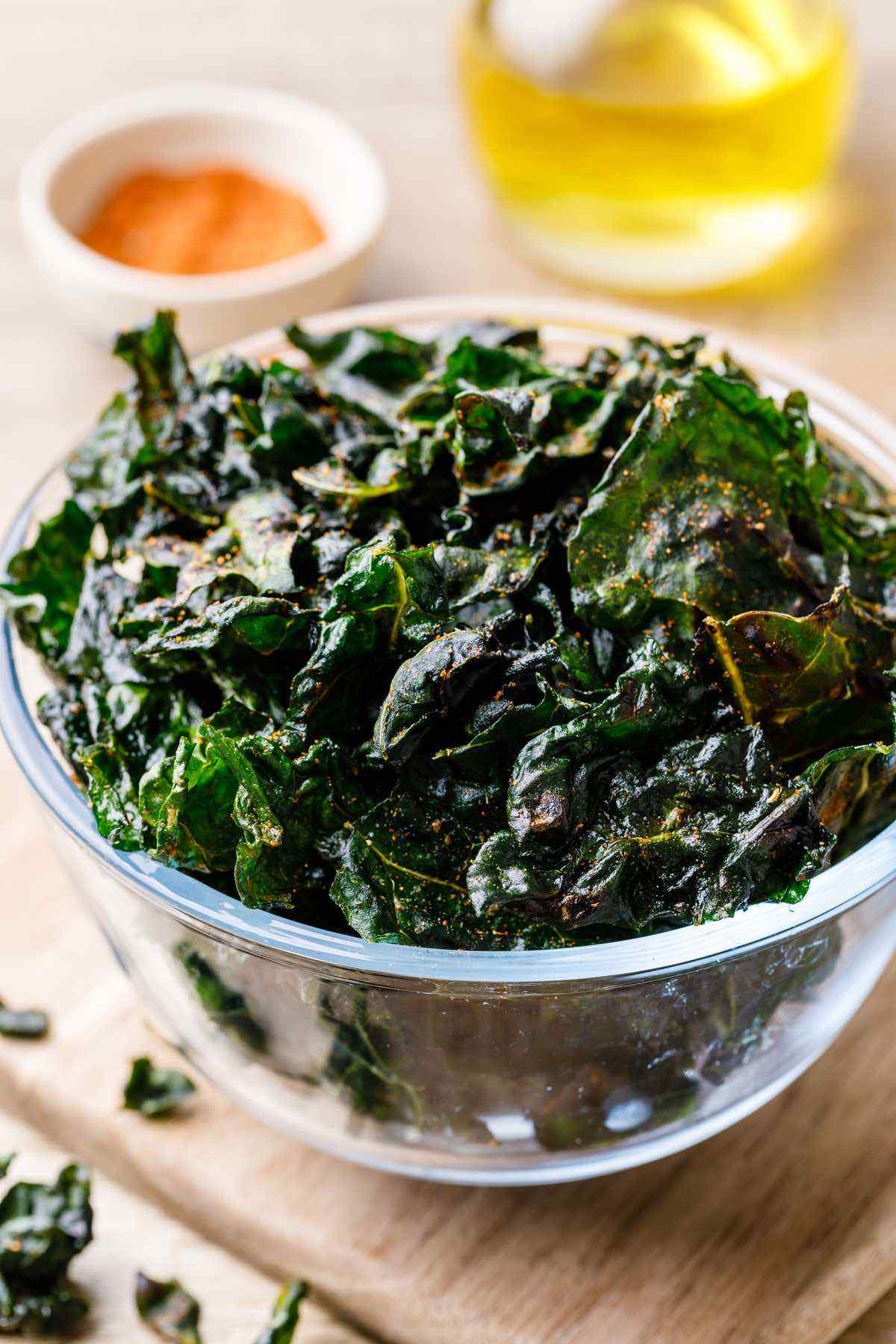 Easy Air Fryer Spicy Kale Chips