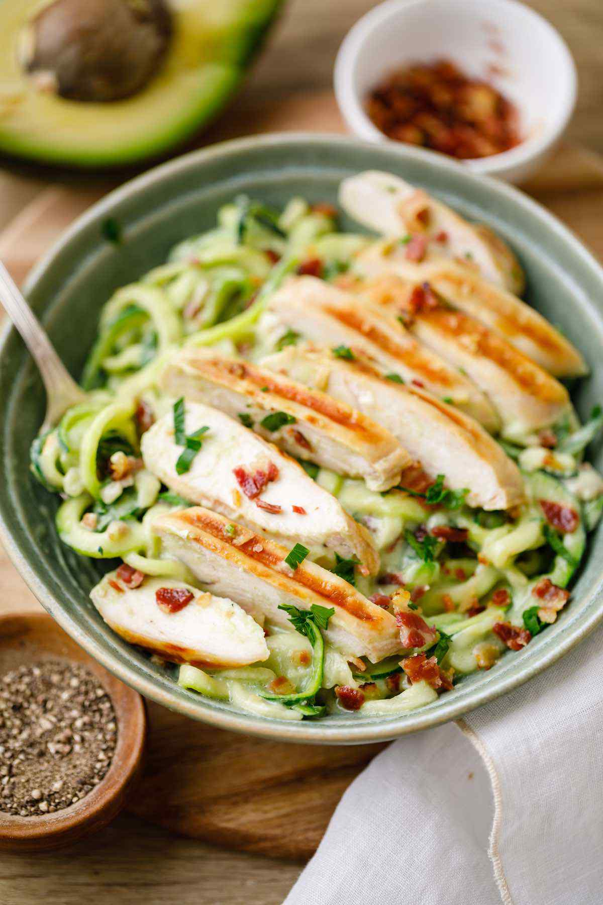 Low Carb Zucchini Pasta Avocado Alfredo