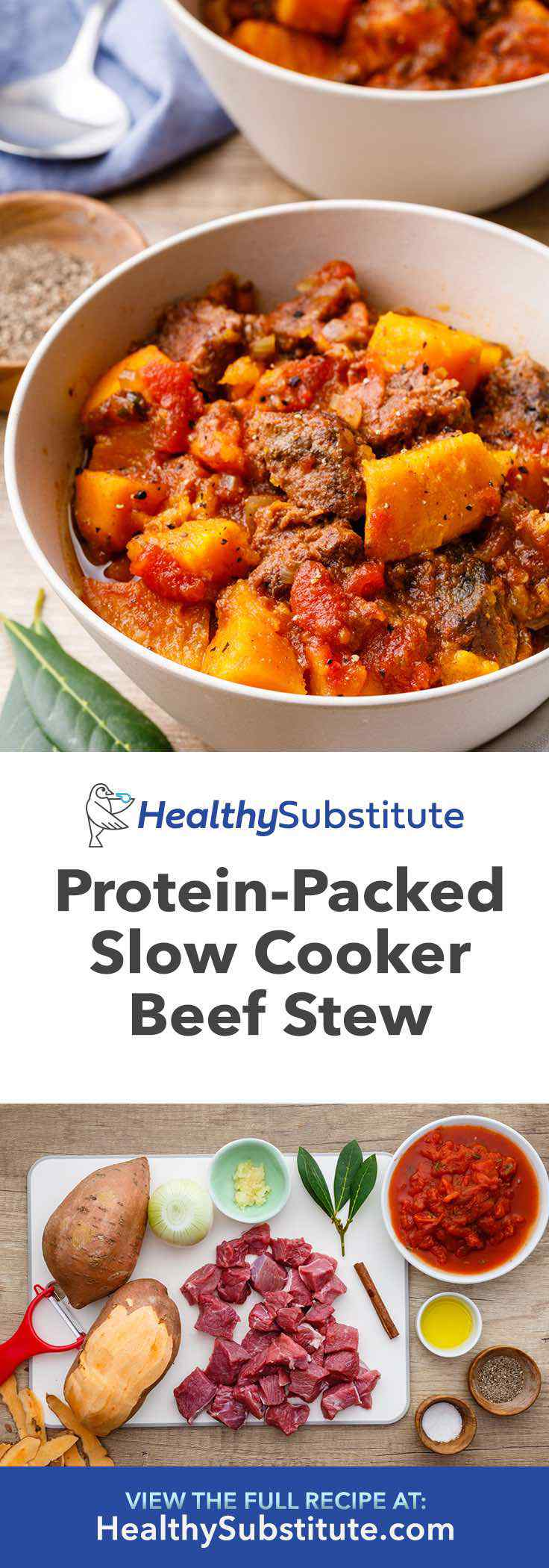 Easy slow cooker sweet potato beef stew.
