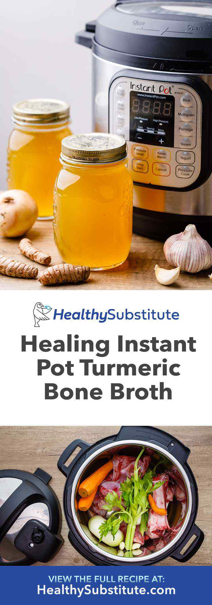 Try this healing instant pot turmeric bone broth.
