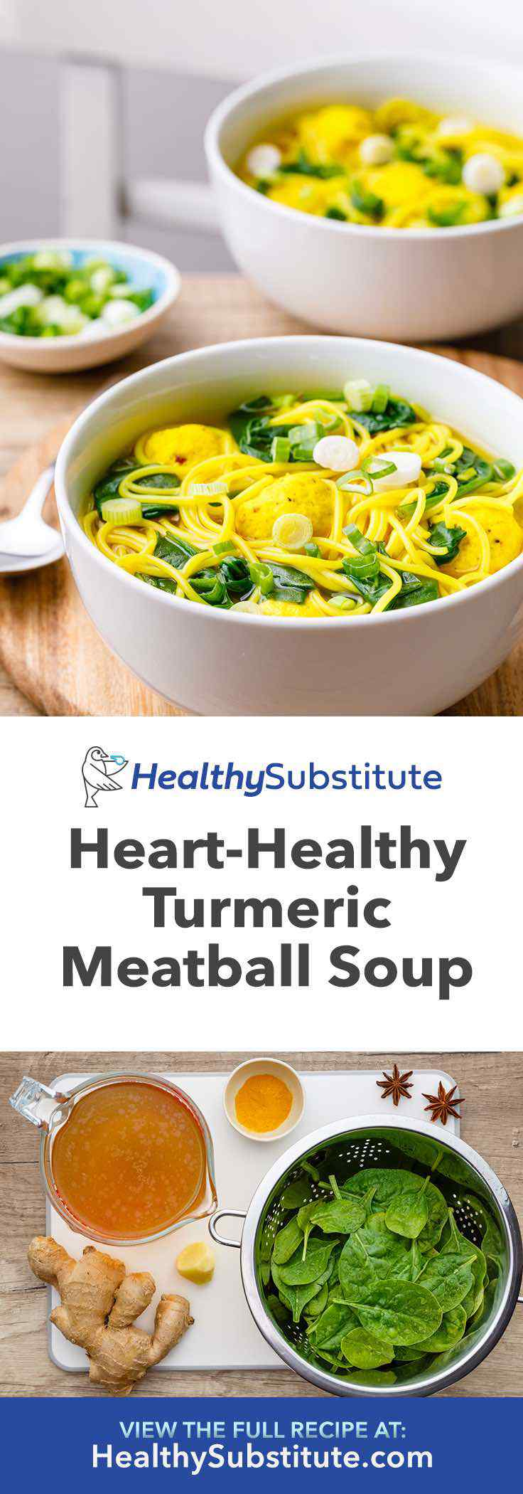 This heart-healthy turmeric meatball soup is so good!